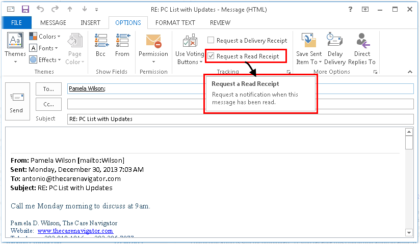 How to Add a Read Receipt to an Email in Microsoft Outlook – Receiving Receipt