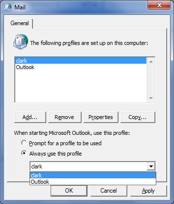 how to delete default outlook account