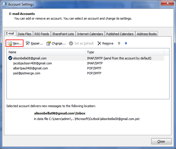 how to set up outlook extress to recieve gmail