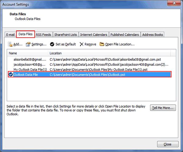 set data file as default