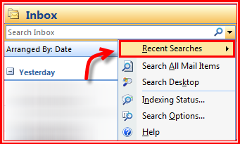 Understand outlook instant search features in ms outlook recent searches ccuart Choice Image