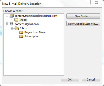 Email Delivery Location