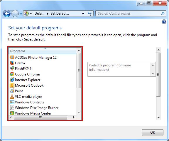 Choose Default Programs