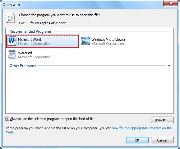 select default program