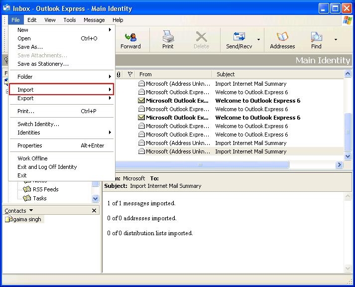 Select import Option