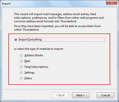Two Option to import