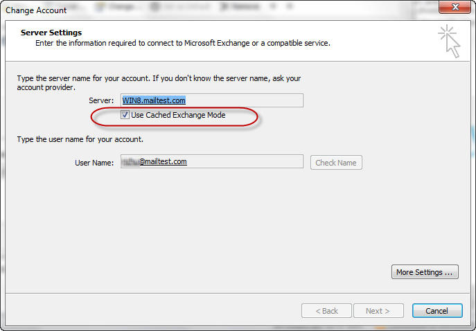 Check Use Cached Exchange Mode