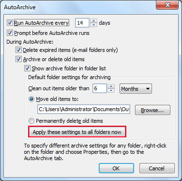 Apply these settings to all folders now