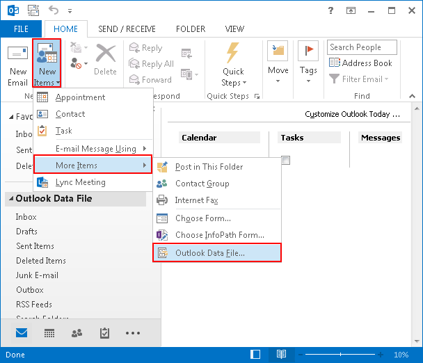 click on Outlook data file