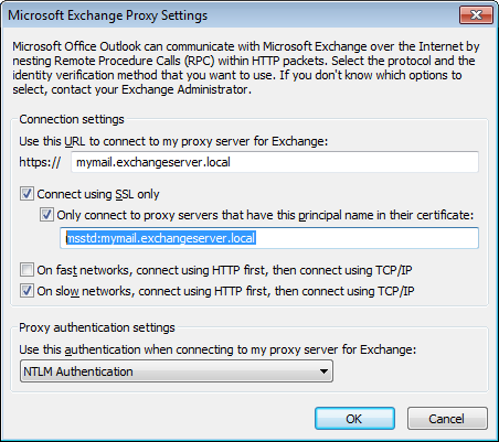 microsoft exchange proxy settings
