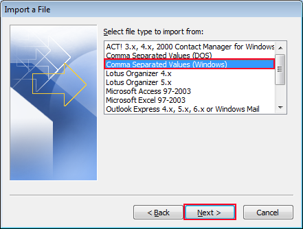 Select comma separated values windows