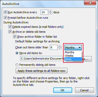 Select Month,Weeks and days to clean out Outlook