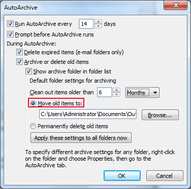Select move old items to option