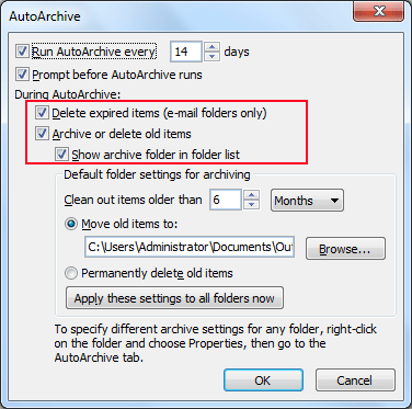 Select Options During Auto Archive