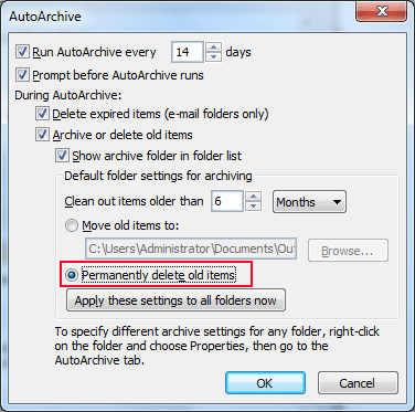 Select permanently delete old items
