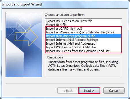 Select required option to import