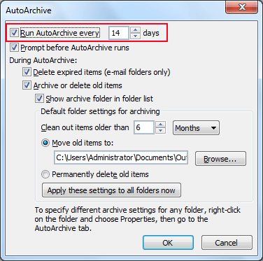 Select run auto archive every option