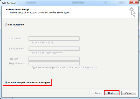 click on Manual Select or Additional Server Types