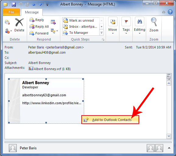 Guidelines to createadd and manage contacts in ms outlook save vcard contacts reheart Choice Image