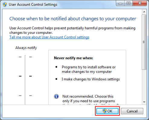 Click on Ok to save settings