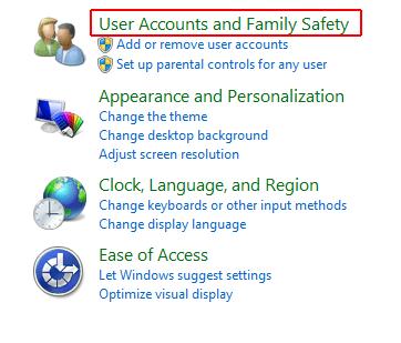 Click on User Accounts and Family Safety