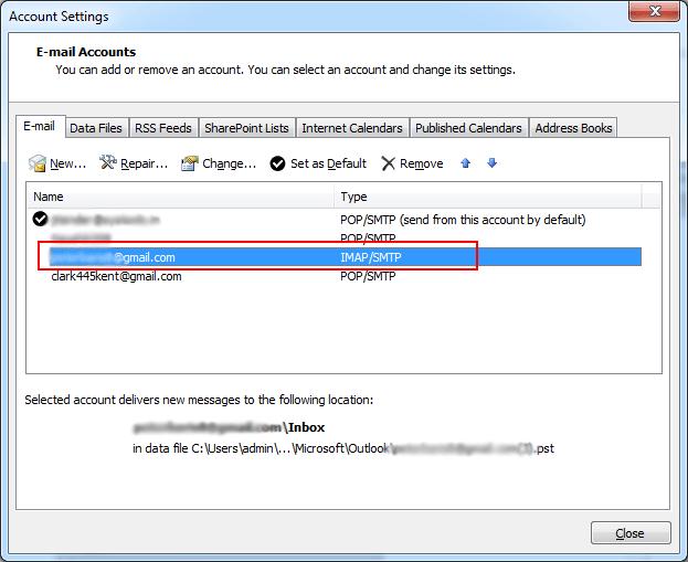 Double Click on IMAP Account
