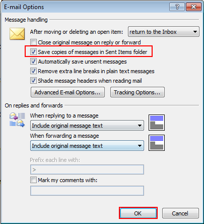 Save Copies of Messages in sent items folder 07
