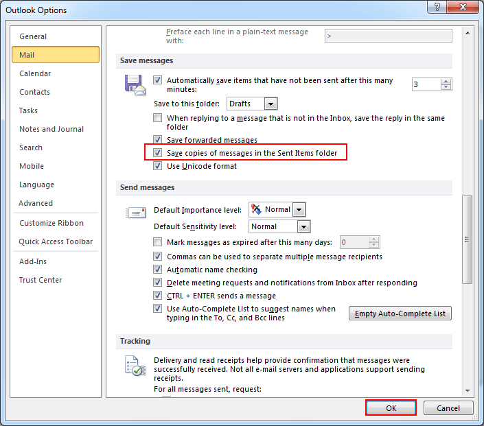 Save Copies of Messages in Sent items folder