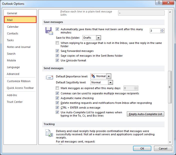 Select Mail Option