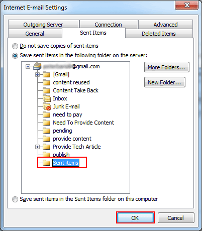 Select the sent items