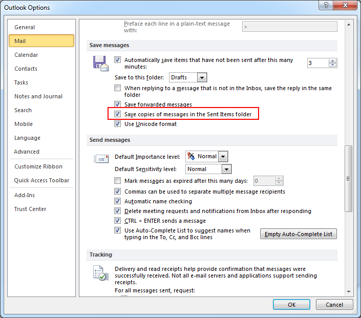 Select save copies of messages in sent items folder