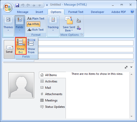 Outlook 2007 BCC option