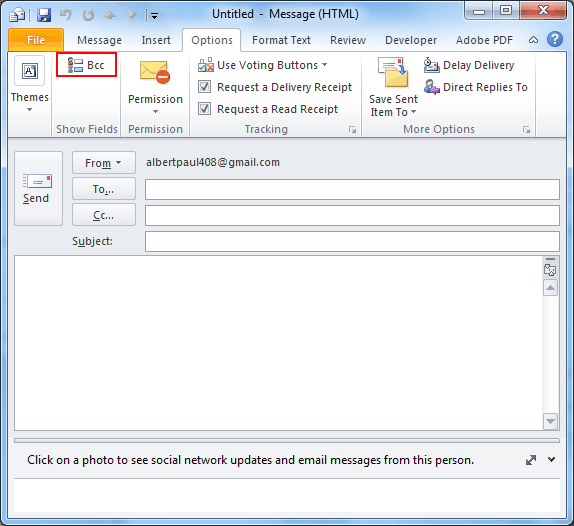 Outlook 2010 BCC option