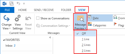outlook 2013 message preview