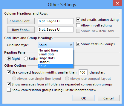 Outlook 2013 other settings gridlines