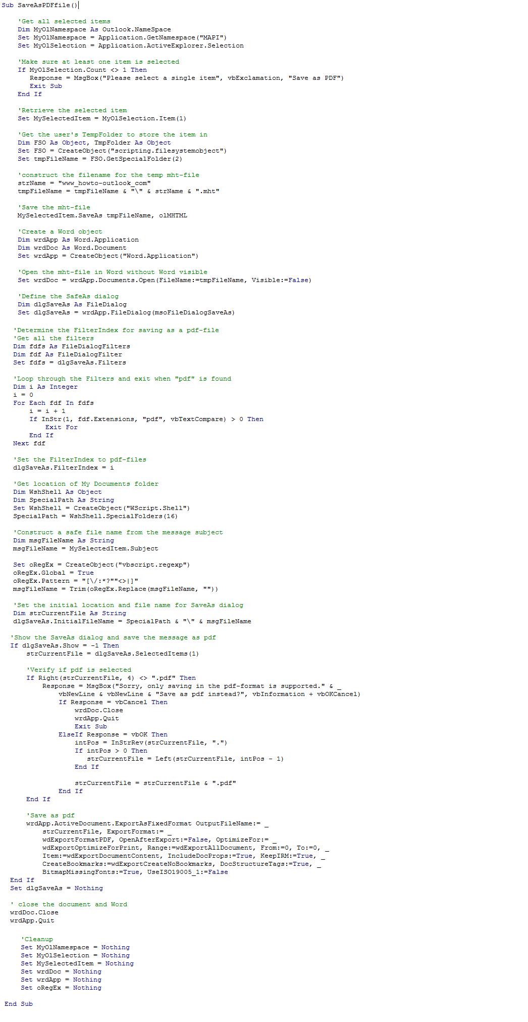 macro code