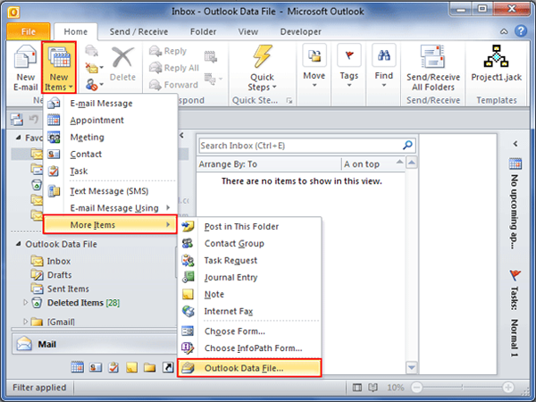 Click on Outlook data