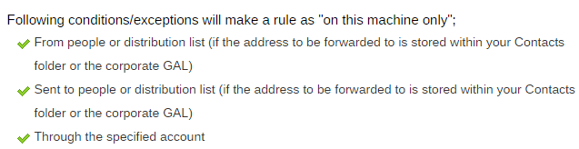 following Conditions/Exceptions for make a rule