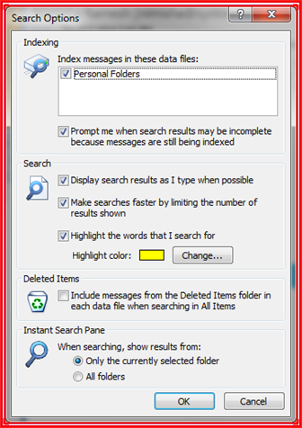 search options window