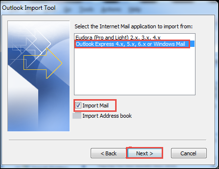 Select Outlook Express Option