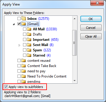 select the Apply view to subfolders options